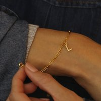 Personalised Gold Chain Bracelet With Initial Charm, Gold