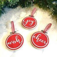 Set Of Three Embroidery Hoop Christmas Tree Decorations