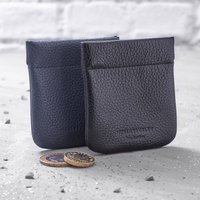 Italian Leather Contemporary Coin Purse, Navy/Black