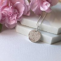 Monogram Sterling Silver Pebble Necklace, Silver