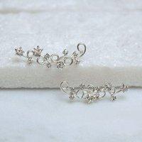 Sterling Silver Stars Swirl Climber Earrings, Silver