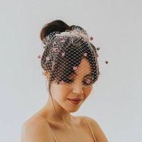 Lovesick Glitter Birdcage Veil, Snow/White/Lemon