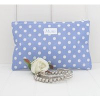 Spot Wipe Clean Compact Make Up Bag, Pale Blue/Blue/Red