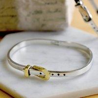 Silver And Gold Designer Belt Bangle, Silver