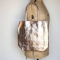 Metallic Soft Italian Leather Unstructured Tote Shopper