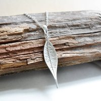 Sterling Silver Lanceolate Leaf Necklace, Silver