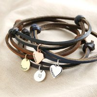 Personalised Adjustable Leather Cord And Charm Bracelet