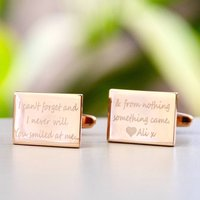 Personalised Rose Gold Rectangle Message Cufflinks, Gold