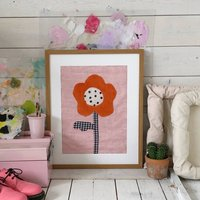 Flower Fabric Wall Hanging Floral Textile Art