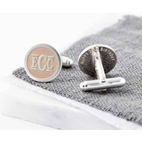 Rose Gold And Silver Monogram Initials Cufflinks, Silver
