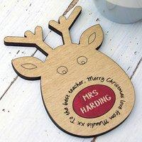 Personalised Teachers Xmas Gift Reindeer Coaster