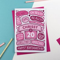 20th Omg Birthday Personalised Illustrated Card