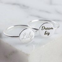 Personalised Sterling Silver Disc Ring, Silver