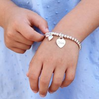 Girl's Personalised Sterling Silver Ball Bracelet, Silver