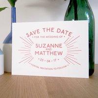 Retro Starburst Wedding Save The Date Card