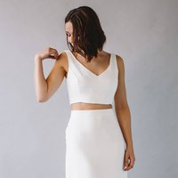 Luna Cropped Lace Backless Bridal Top
