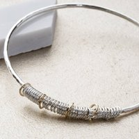 40th Birthday Bangle In 9ct Gold And Sterling Silver, Silver