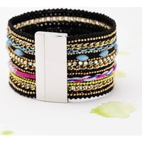 Embellished Friendship Cuff, Black/Pink/Red