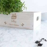 Personalised First Garden Wooden Planter