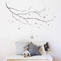 Winter Branch With Stars Fabric Wall Sticker, Grey/White