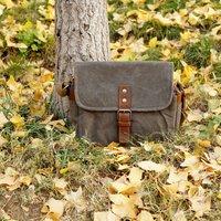 Waxed Canvas Dslr Camera Shoulder Bag