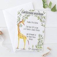 Christening Invitation Giraffe Watercolour