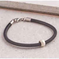 Men's Slim Silver And Leather Bracelet, Silver