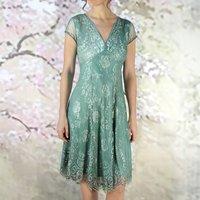 Vintage Style Aqua Lace Special Occasion Dress