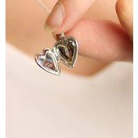 Tiny Silver Heart Locket, Silver