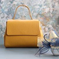 Leather Top Handle Handbag, Yellow