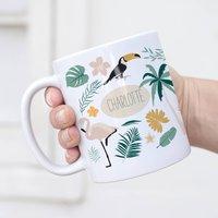 Personalised Tropical Toucan And Flamingo Mug