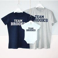 Your Team Surname Family T Shirt Set, Red/Royal Blue/Blue