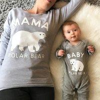 Mama Polar Bear And Baby Polar Bear Sweatshirt Set