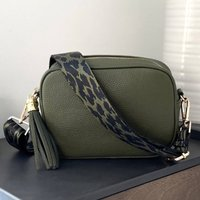 Olive Green Leather Handbag With Interchangeable Strap