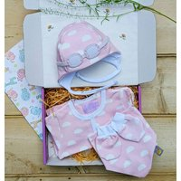 Pink Clouds Baby Grow, Hat, Bib And Mittens Set