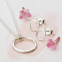 Sterling Silver Hammered Circle Jewellery Set, Silver