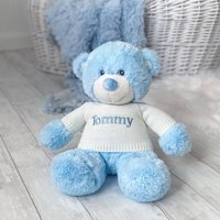 Personalised Aurora Blue Bonnie Bear Large Soft Toy
