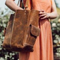 Leather Tote Handbag, Brown/Black