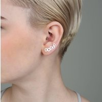 Geometric Joined Squares Ear Climbers