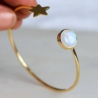 Gold Star And Moonstone Bangle And Ring Set, Gold