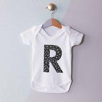 Personalised Geometric Initial Babygrow, White/Black/Gold