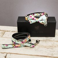 The Barnes Blue Floral Dog Collar Bow Tie And Lead Set