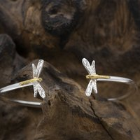 Drangonfly Bangle In Silver And Gold Vermeil, Silver