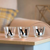 Letter Glass Votive Holder