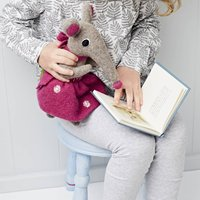 Shrew Soft Toy Personalised And Handmade, Light Blue/Blue/Grey