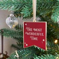 Most Wonderful Time Enamel Christmas Tree Decoration