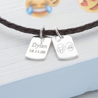 Personalised Emoji Double Dog Tag Leather Necklet