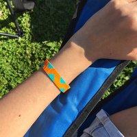 Orange And Turquoise Beaded Bracelet