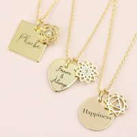 Personalised Gold Chakra Necklace, Gold