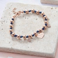 Personalised Rose Gold And Silk Charm Bracelet, Gold